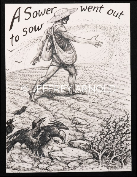 A Sower | Pen and Ink Illustration