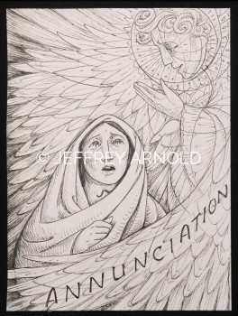 Annunciation | Pen and Ink Illustration