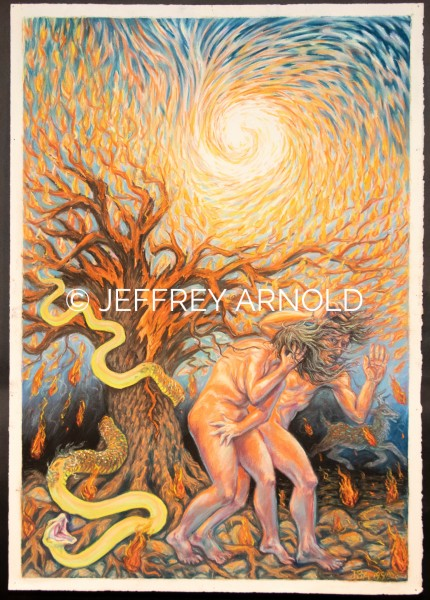 Expulsion of Adam and Eve | Pastel Drawing