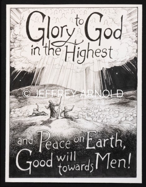 Glory to God | Pen and Ink Illustration