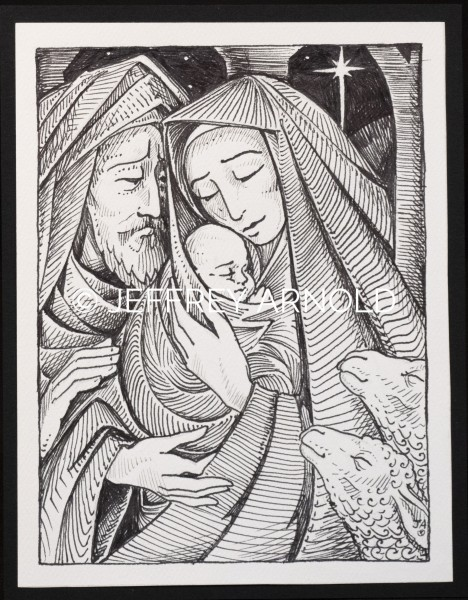 Mary and Joseph 1 | Pen and Ink Illustration