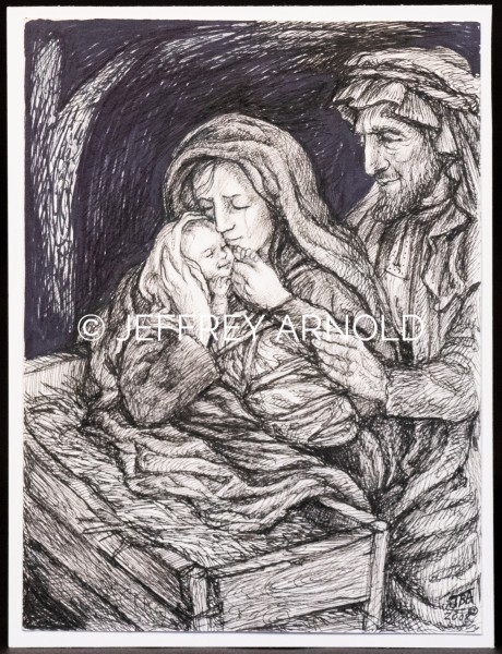 Mary and Joseph 2 | Pen and Ink Illustration