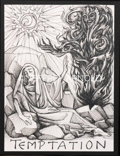 Temptation of Christ | Pen and Ink Illustration