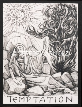 Temptation of Christ | Pen and Ink Illustration