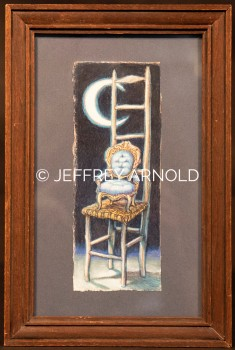Chairs by Moonlight | Watercolor, Colored Pencil