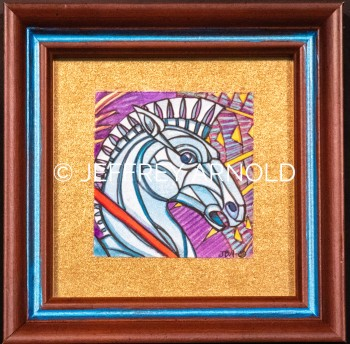 Trojan Horses Head | Watercolor, Metallic Ink Painting